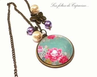 Large floral •ESPRIT • Cabochon necklace