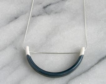 Porcelain and sterling silver pendant necklace with indigo grey blue glaze