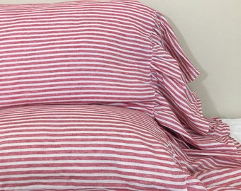 A pair of Red and White Striped Pillow Cases with Mermaid Long Ruffles, Farmhouse Style