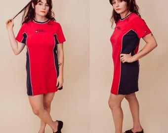 Tommy Girl Vintage Red & Navy Blue Colorblock T-Shirt Cotton Mini Dress