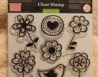 """Free Shipping!  My Little Shoebox """"Sunday Market""""  Clear Stamps for Scrapbooking & Card Making - 10011 - New in Package - SNSS3"""