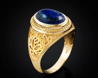 Gold Lotus Band Lapis Lazuli Yoga Statement Ring (yellow, white, rose gold, 10k, 14k)