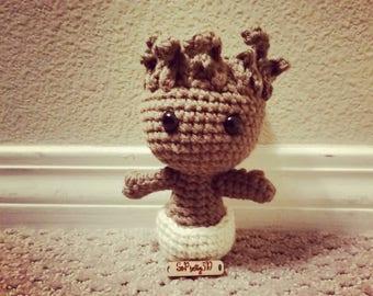 Crocheted Groot Inspired Amigurumi! Free Shipping too!