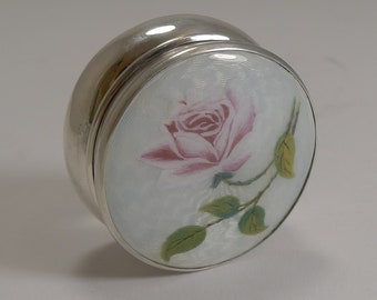 Large Antique English Sterling Silver and Guilloche Enamel Pill Box - 1918