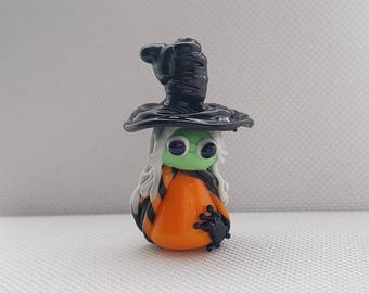Lampwork Witch - Witch Bead - Glass Witch - Halloween Beads - Spider Bead - Halloween Glass Beads - Handmade Beads - Lampwork Glass -UK Made