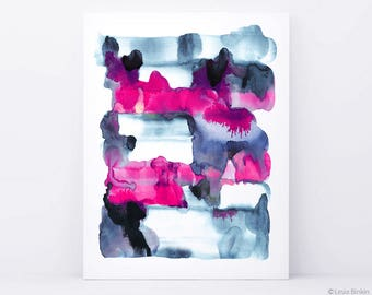 Abstract painting, watercolor painting, acrylic abstract, blue abstract painting, indigo abstract art, abstract art, pink watercolor