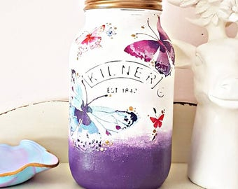 Butterfly kilner jar, painted jar, decoupage jar, purple jar, purple home decor, butterfly gift, butterfly home gift, gift for new home,