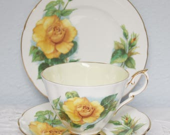 Vintage Paragon Tea Trio, Cup and Saucer and Pastry Plate, Mme Ch Sauvage, Six World Famous Roses, Signed by Harry Wheatcroft