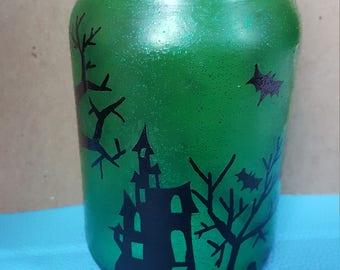 Halloween Scene Mason Jar - Pint