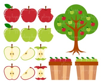 70% OFF Sweet Red And Green Apple Cliparts, Sweet Red And Green Apple Clipart Graphics, Personal & Small Commercial Use, Instant Download