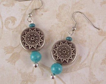 Turquoise Earrings - Silver Earrings - Boho Bohemian Earrings Jewelry - Turquoise Dangle Earrings - Turquoise Jewerly - Gift Ideas for Her