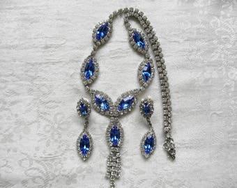 Sparkling Sapphire Blue & Clear White Rhinestone Set Necklace + Pierced Dangle Earrings