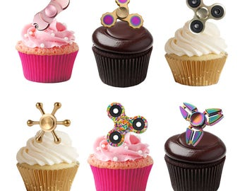 30 Stand Up Fidget Spinner Themed Edible Premium Wafer Paper Cupcake Cake Toppers