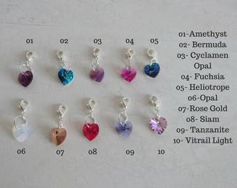 READY TO SHIP: Clip on Charm Hearts. 10mm Swarovski Element hearts. Stich markers, For Scrapbooking, Planner charms, Charm Bracelets more!
