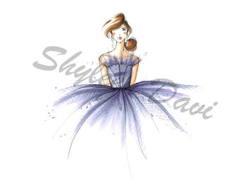 Fairytale Couture Fashion Illustration Print