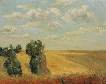 MID CENTURY ART Original Oil Painting by Soviet Ukrainian artist M.Borymchuk 1950s Summer Field Rural Landscape, Skyscape, Socialist Realism