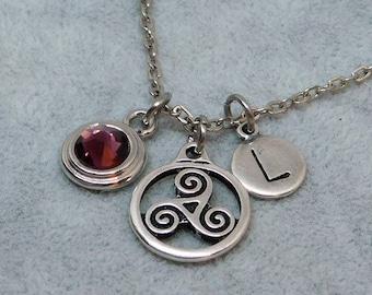 Silver Triskele necklace, swarovski birthstone, initial necklace, birthstone necklace