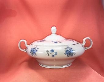 Vintage Czechoslovakian Bohemian Fine China Tureen/Czechoslovakian Blue White Floral China Dinnerware Soup Dish