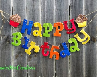 Happy Birthday Fabric Banner with Cupcakes - fabric embroidered letter banner - cupcakes