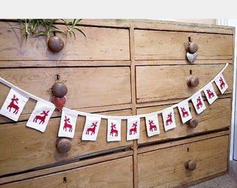 Christmas Bunting. Christmas Decorations. Scandinavian Christmas. Stag Bunting.