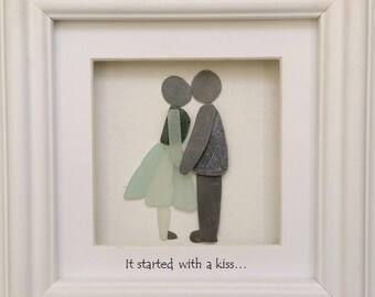 Valentine Gift, Pebble Art Couple, It Started with a Kiss, Cornish Pebble Art