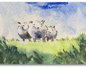 Sheep ORIGINAL Miniature Watercolour 'Counting Sheep' ACEO, For him, For her, Home Decor Wall Art Gift Idea, Free Shipping