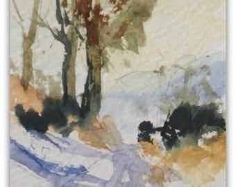 "Landscape ORIGINAL Miniature Watercolour ""Winter Lane"" ACEO Snow Countryside Lane Home Decor Wall Art Gift Idea, Free postage worldwide"
