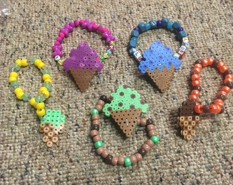Set of five perler ice cream on 5 kandi bracelets