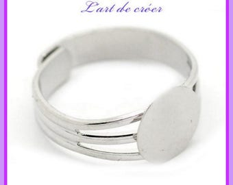 2 x Support Adjustable ring, adjustable, silver, 10mm tray