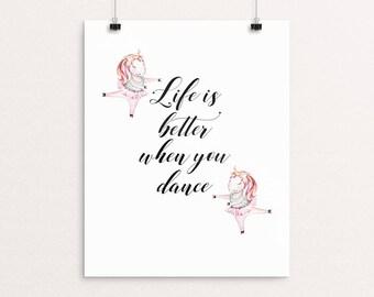 Unicorn Quote | Unicorn Printable, Dance Quote, Unicorn Wall Art, Unicorn Decor, Dancing Quote, Immediate Download, Printable Poster