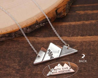 Faith Can Move Mountains Necklace, Two sided Necklace, Mountain Necklace, Inspirational Quote Necklace, Minimalist Necklace BN899-M14