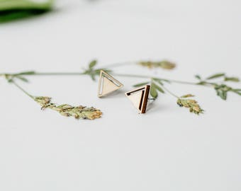 Geometric Wood Stud Earrings Triangle Laser Cut Wood Earrings, Minimalist Studs, Men Earrings, Hipster Earrings Women Earring, Gift for Her