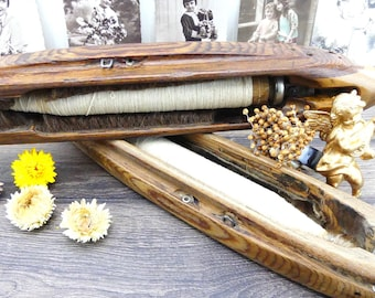 Cotton spool - Weaving spool - Spools - Weaving reels - Wooden spindle - Weaving loom - Artisanal - French shabby chic decor - Antique