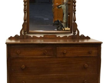 "SLIGH FURNITURE CO. Grand Rapids 1967 Antique Mahogany 48"" Dresser with Mirror"