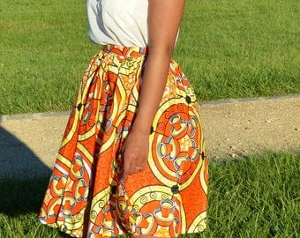 All MIDI skirt in African fabric, scarf and matching chiffon Nightgown