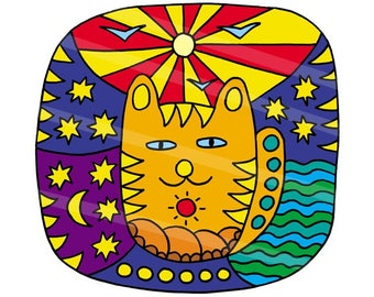 Coloring for adults and children. Anti-stress. The cat and the universe. Felt-tip pen, felt pen, gel pen. Coloring pattern. Painting.