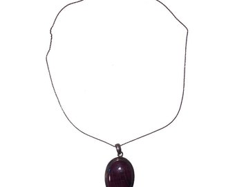 Sterling Silver and Ruby Zoisite Cabochon Pendant Necklace