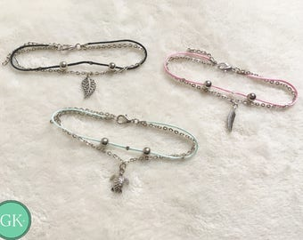 Charm anklets with colored rope- many choices