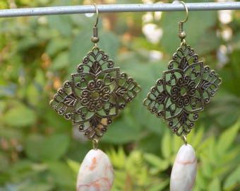 Bronze dangle earring Jasper