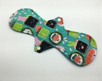 "12"" Kawaii Sushi Moderate Absorbency Cloth Pad, Reusable Cloth Pad, Cloth Pantyliner, Cloth Menstrual Pad, Zero Waste, Ecofriendly"