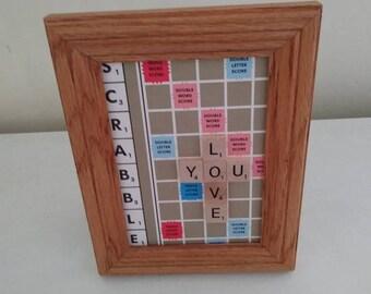 """Framed scrabble board - """"love you"""""""