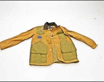 Vintage SEARS Canvas Shooting Jacket S/M beige hunting tan holder patch winter coat heavy heavyweight american americana game pocket