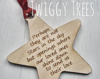 Star rememberance Christmas decoration dad mum baby loved one loss wooden santa xmas personalised Angel Memory tree perhaps they are not