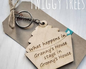 Wooden Cupcake What happens in Granny's house, stays in Nanny's house  Engraved Keyring Gift