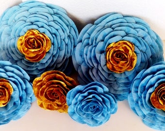 6 giant large paper flowers gold Turquoise blue royal Prince wall backdrop decor boy baptism wedding nursery bridal baby shower boy birthday