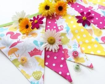 Summer party decor, Garden Party Decor, pink yellow banner, garden party banner, birthday party banner, British bunting, Nessa Foye