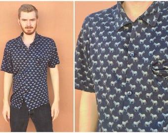 Vintage Zebra Print All Over Hawaiian Shirt size MEDIUM ~ 24860