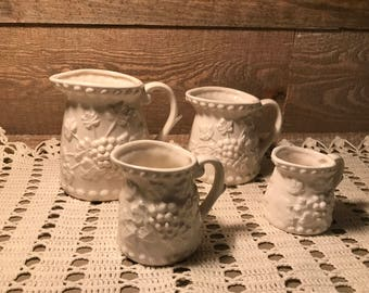 Ceramic Set of Four Measuring Cups Grapevine Pattern Cream White