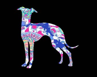 Fun loving English Whippet patterned vinyl decal in many prints and sizes!