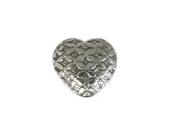 Handmade 925 Sterling Silver Stamped Heart Bead - 1 pc.